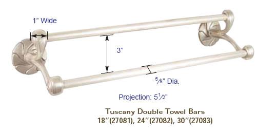 emtek spring rod style paper holder specs - Double Towel Bar