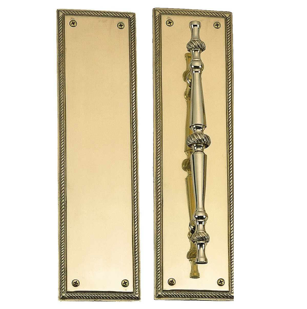 Brass accents rope push plate 3 x 12 inch for Door push plates