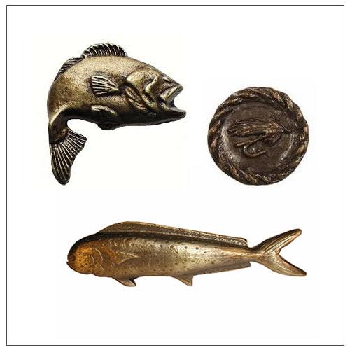 Bucksnort lodge cabinet hardware for Fish drawer pulls