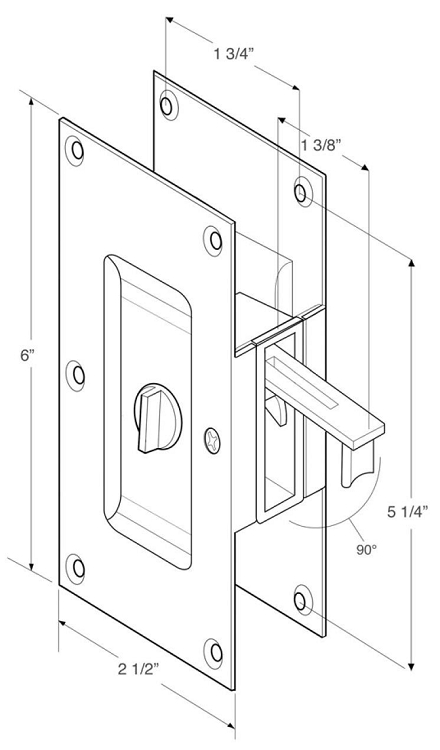 Deltana SDL60 Privacy Pocket door lock measurements