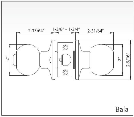 Ezset Door Hardware Bala Passage Door Knob