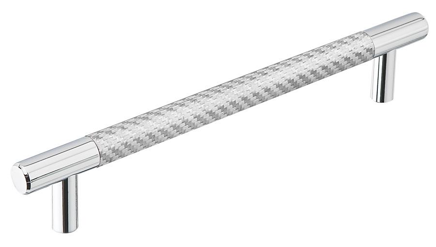 Emtek Silver Carbon Fiber 8 Inch Bar Pull