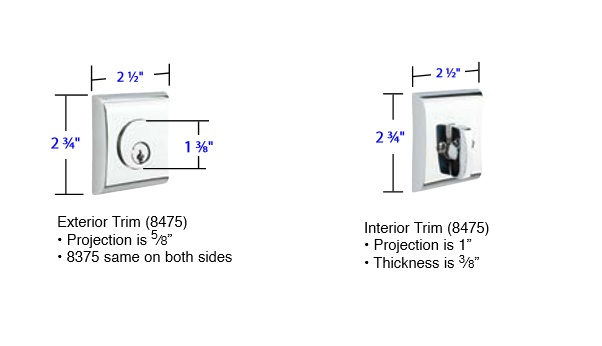 Emtek Neos Interior Deadbolt Measurements