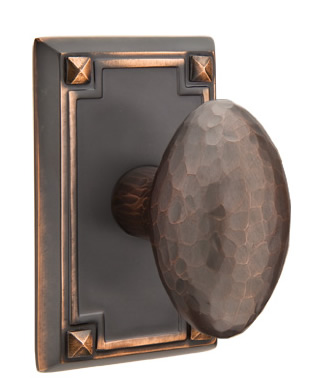 Emtek Hammered Egg Door Knob with Rectangular Rosette