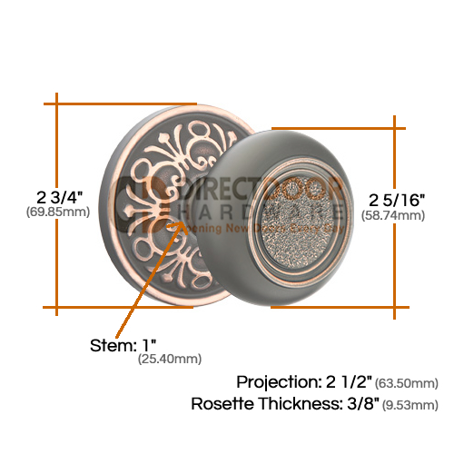Emtek Belmont Knob with Lancaster Rosette Measurements