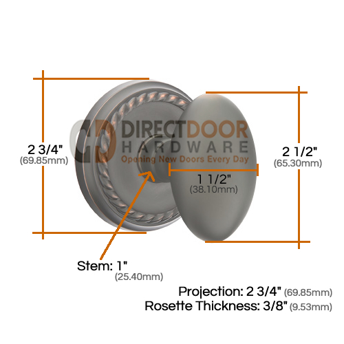 Emtek Egg Knob with Rope Rosette Measurements