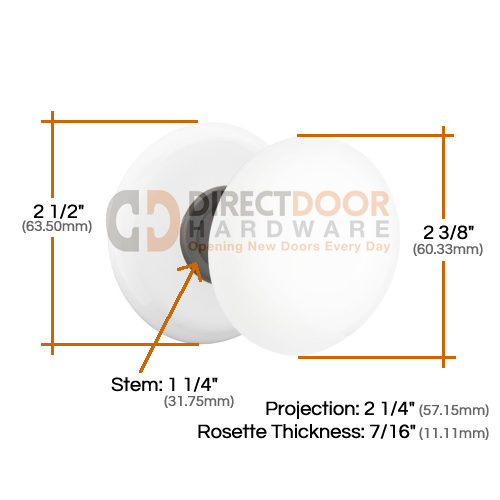 Emtek Ice White Knob with Porcelain Rosette Measurements