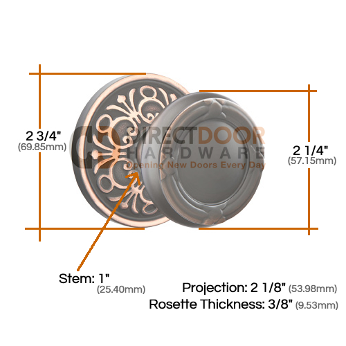 Emtek RIbbon & Reed with Lancaster Rosette Measurements
