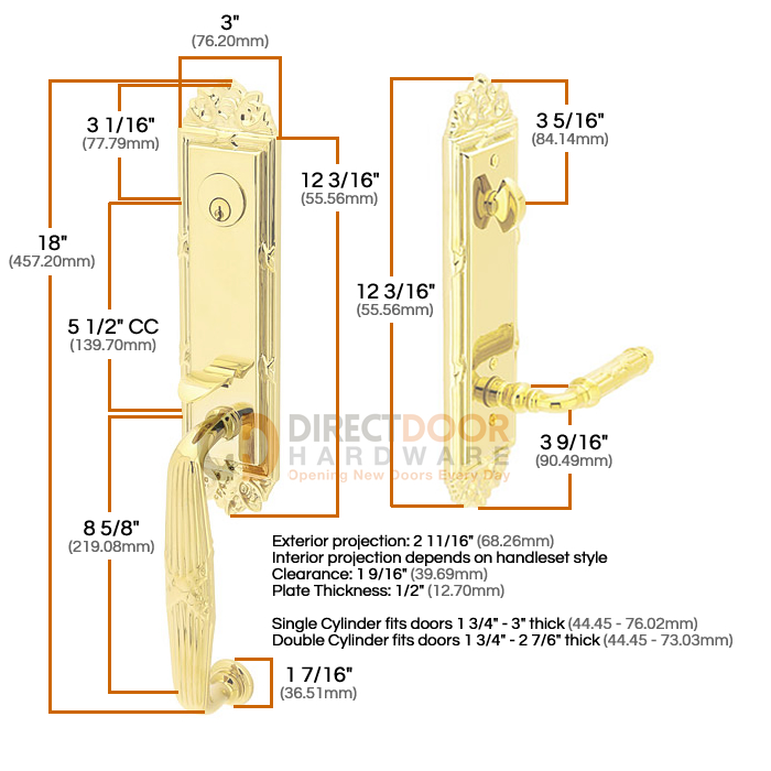 Emtek Ribbon and Reed Entrance Handleset Measurements