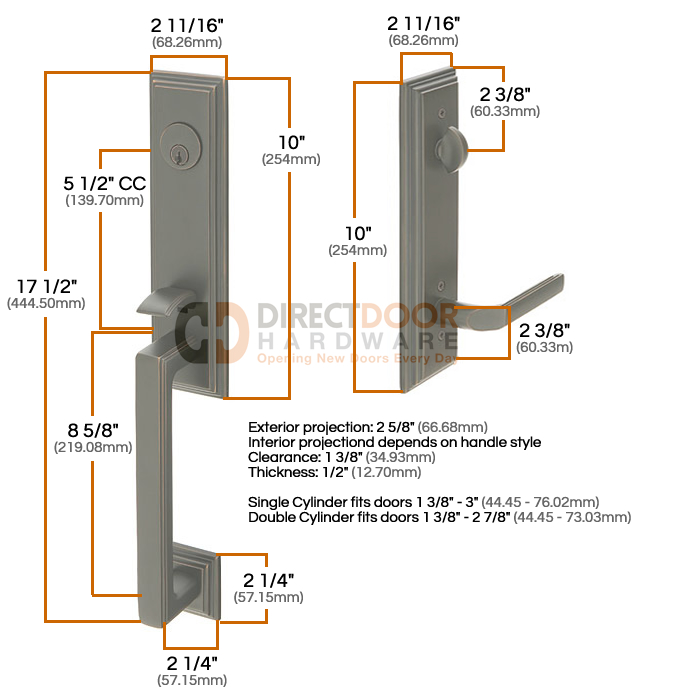Emtek Wilshire Entrance Handleset Measurements