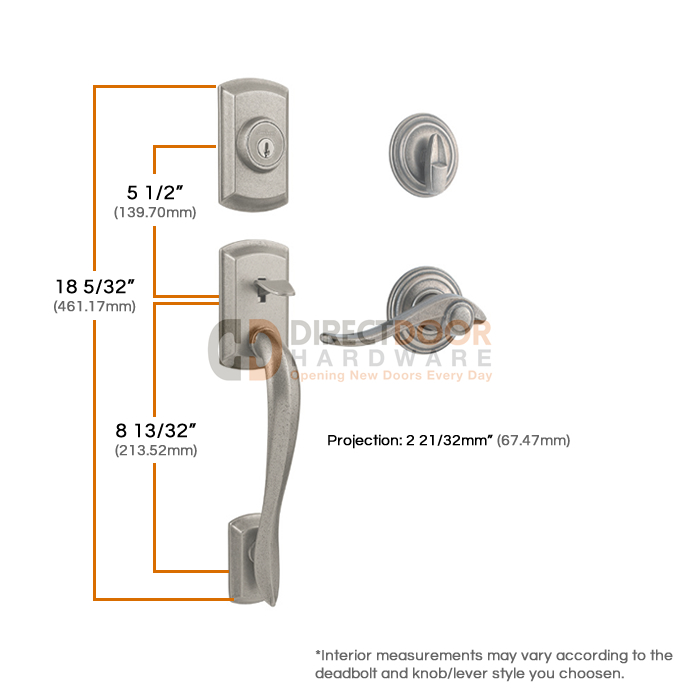 Kwikset Avalon Handleset Measurements