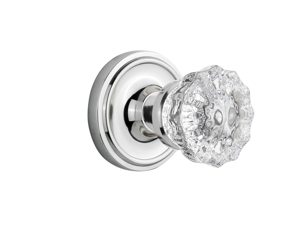 Crystal door knobs with lock - Antique Brass Antique Pewter Bright Chrome