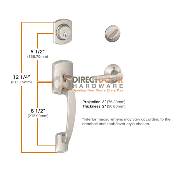 Schlage Century Handleset Measurements
