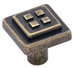 Amerock 1 1/8 Inch Weathered Brass Four Square Cabinet Knob