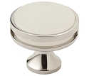 Amerock Oberon 1 3/8 Inch Cabinet Knob - Polished Nickel/Frosted