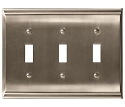 Amerock Candler Triple Toggle Wall Plate - Satin Nickel
