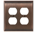 Amerock Candler Double Plug Wall Plate - Oil-Rubbed Bronze