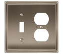 Amerock Mulholland Toggle & Plug Combo Wall Plate - Satin Nickel