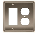 Amerock Mulholland Rocker & Plug Combo Wall Plate - Satin Nickel