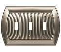Amerock Sea Grass Triple Toggle Wall Plate - Satin Nickel