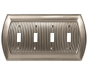 Amerock Sea Grass Quad Toggle Wall Plate - Satin Nickel