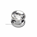 Atlas Homewares Crystal and Pave Collection Round Large Crystal Knob in Brushed Aluminum
