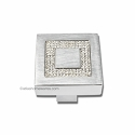 Atlas Homewares Crystal and Pave Collection Square Inset Crystal Knob in Matte Chrome