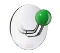 Beslagsboden Design Single Hook - Polished Stainless Steel / Green Knob