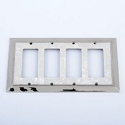 Century Quadruple Rocker SwitchPlate - White Mother of Pearl/Polished Nickel
