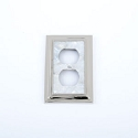 Century Duplex Receptacle Switchplate - White Mother of Pearl/Polished Nickel