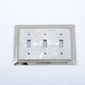 Century Triple Toggle Switchplate - White Mother of Pearl/Polished Nickel