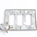 Century Triple Rocker Switchplate w/ Sea Turtle - White Mother of Pearl/Polished Nickel