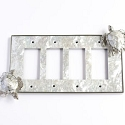 Century Quadruple Rocker Switchplate w/ Sea Turtle - White Mother of Pearl/Polished Nickel
