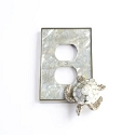 Century Duplex Receptacle Switchplate w/ Sea Turtle - White Mother of Pearl/Polished Nickel