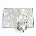 Century Triple Toggle Switchplate w/ Sea Turtle - White Mother of Pearl/Polished Nickel