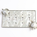 Century Quadruple Toggle Switchplate w/ Sea Turtle - White Mother of Pearl/Polished Nickel