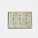 Century Triple Toggle Switchplate - Polished White Bronze
