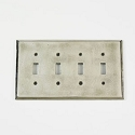 Century Quadruple Toggle Switchplate - Polished White Bronze