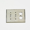 Century Double Toggle/Duplex Receptacle Switchplate - Polished White Bronze