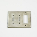 Century Double Toggle/Rocker Receptacle Switchplate - Polished White Bronze