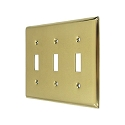Deltana Solid Brass Triple Standard Switch Plate