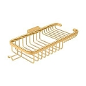 Deltana Solid Brass 10 Inch Deep & Shallow Rectangular Corner Wire Basket with Hook