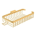 Deltana Solid Brass 10 Inch Shallow Rectangular Corner Wire Basket with Hook