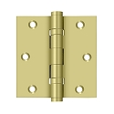 Deltana 3 1/2 x 3 1/2 Inch Solid Brass Square Corner 2 Ball Bearing Hinge - Pair