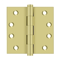 Deltana 4 x 4 Inch Solid Brass Square Corner Standard Hinge - Pair