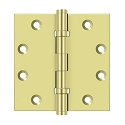 Deltana 4 1/2 x 4 1/2 Inch Solid Brass Square Corner Standard 4 Ball Bearing Hinge - Pair