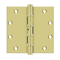 Deltana 5 x 5 Inch Solid Brass Square Corners, 4 Ball Bearings NRP Hinge - Pair