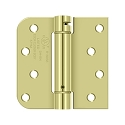Deltana 4 x 4 Inch 5/8 Inch Radius x Square Corner Single Action, Steel Spring Hinge - Pair