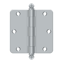 Deltana 3 1/2 x 3 1/2 Inch 1/4 Inch Radius Corner with Ball Tips Steel Hinge - Pair