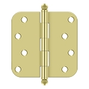 Deltana 4 x 4 Inch 5/8 Inch Radius Corner with Ball Tips Steel Hinge - Pair